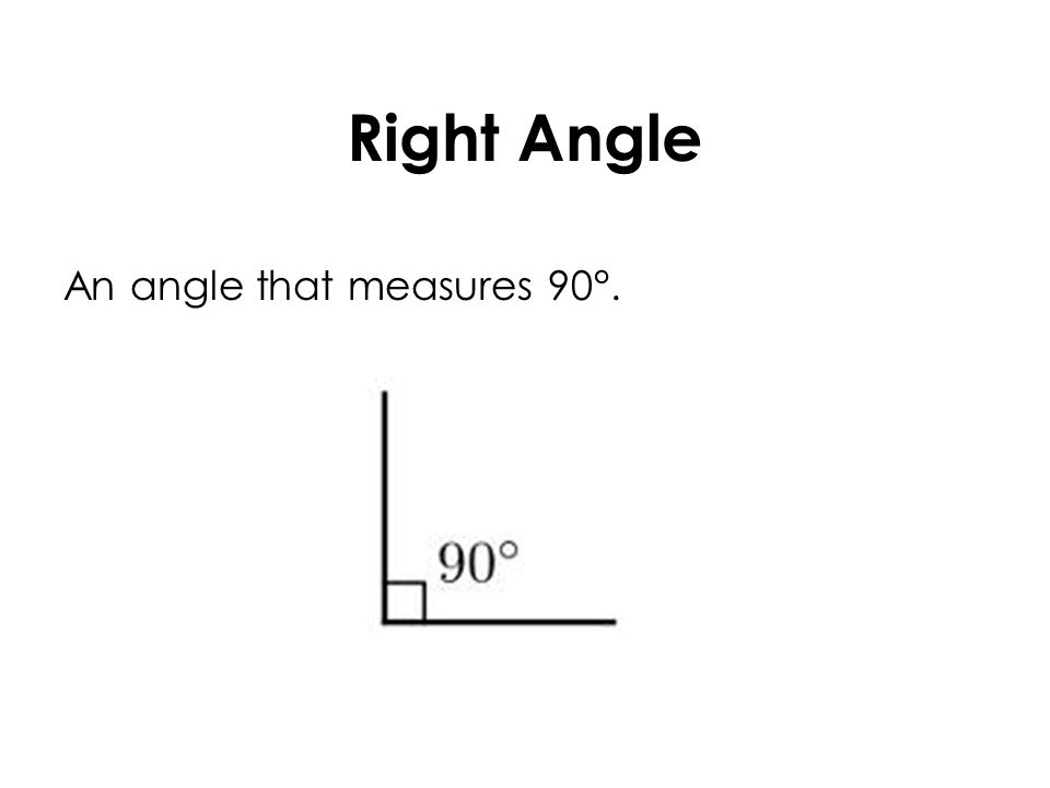 Right Angle An angle that measures 90°.