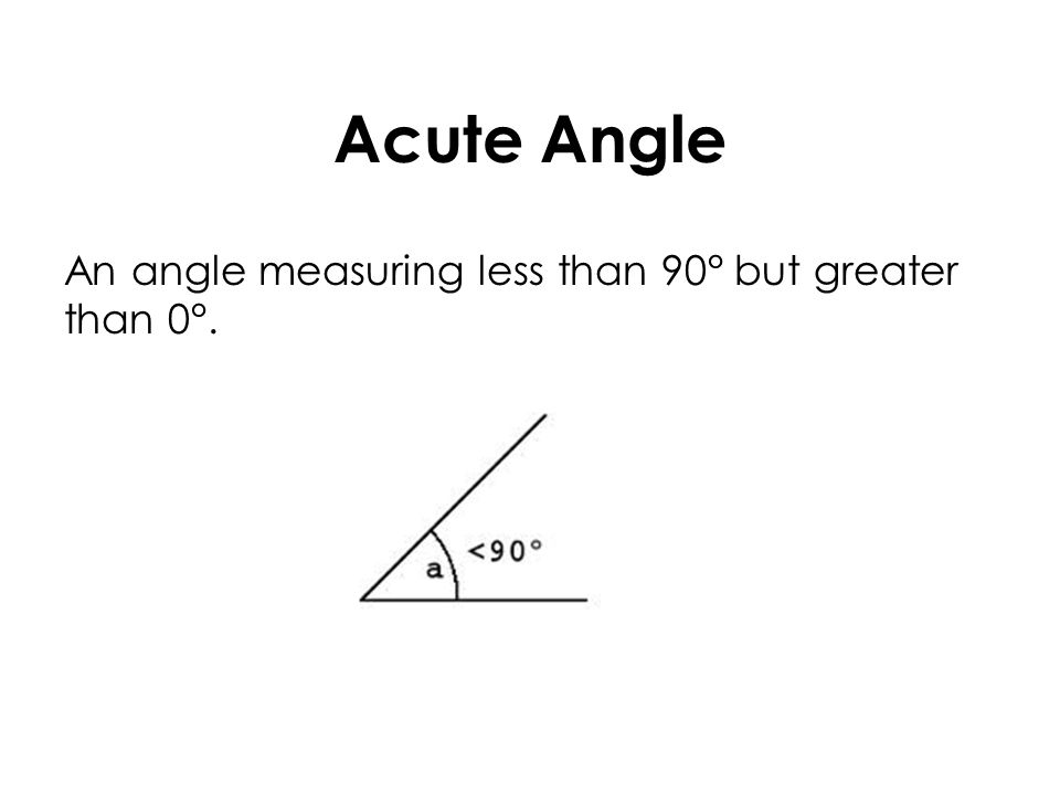Acute Angle An angle measuring less than 90° but greater than 0°.