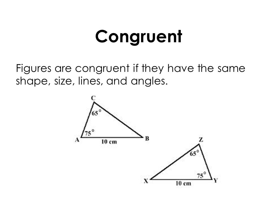 Congruent Figures are congruent if they have the same shape, size, lines, and angles.