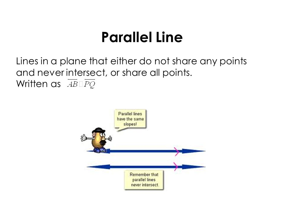 Parallel Line Lines in a plane that either do not share any points and never intersect, or share all points.