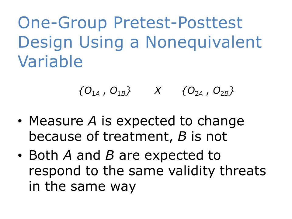 One-Group Pretest-Posttest Design Using a Nonequivalent Variable