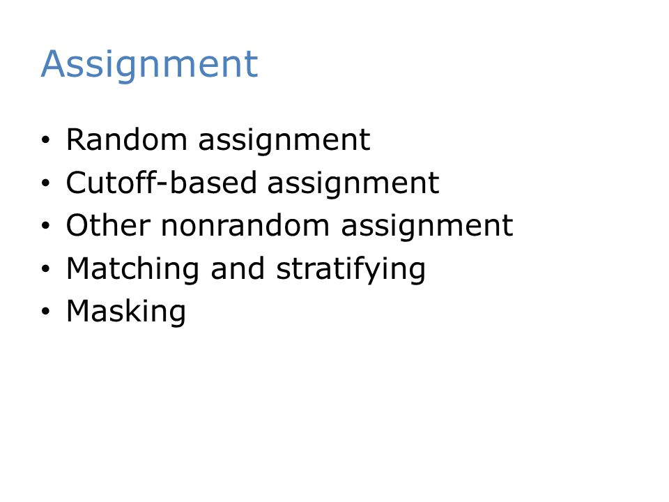 Assignment Random assignment Cutoff-based assignment