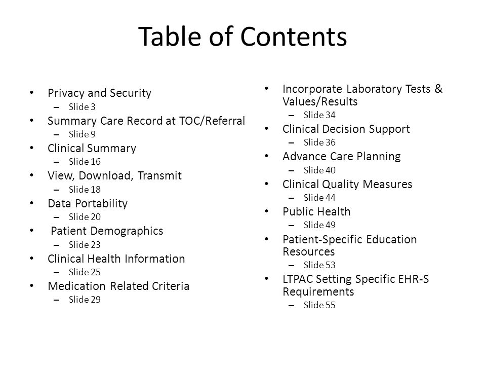 Table of Contents Incorporate Laboratory Tests & Values/Results