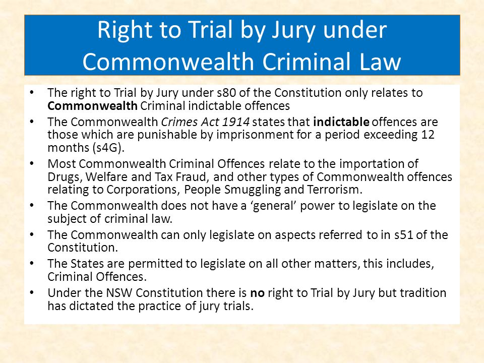 Right to Trial by Jury under Commonwealth Criminal Law