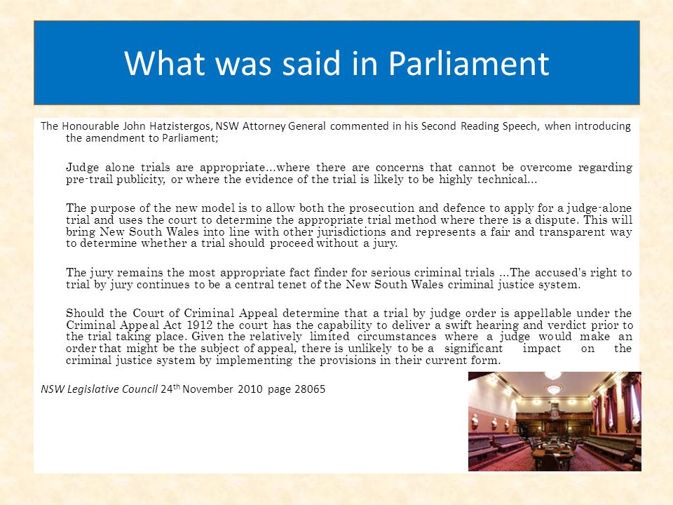What was said in Parliament