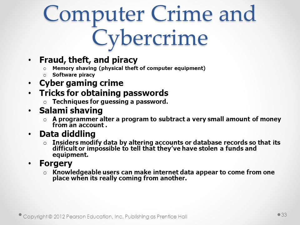 Computer Crime and Cybercrime