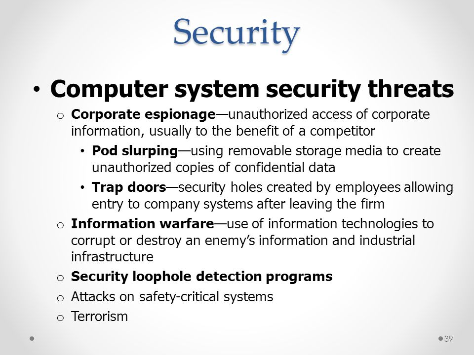 Security Computer system security threats