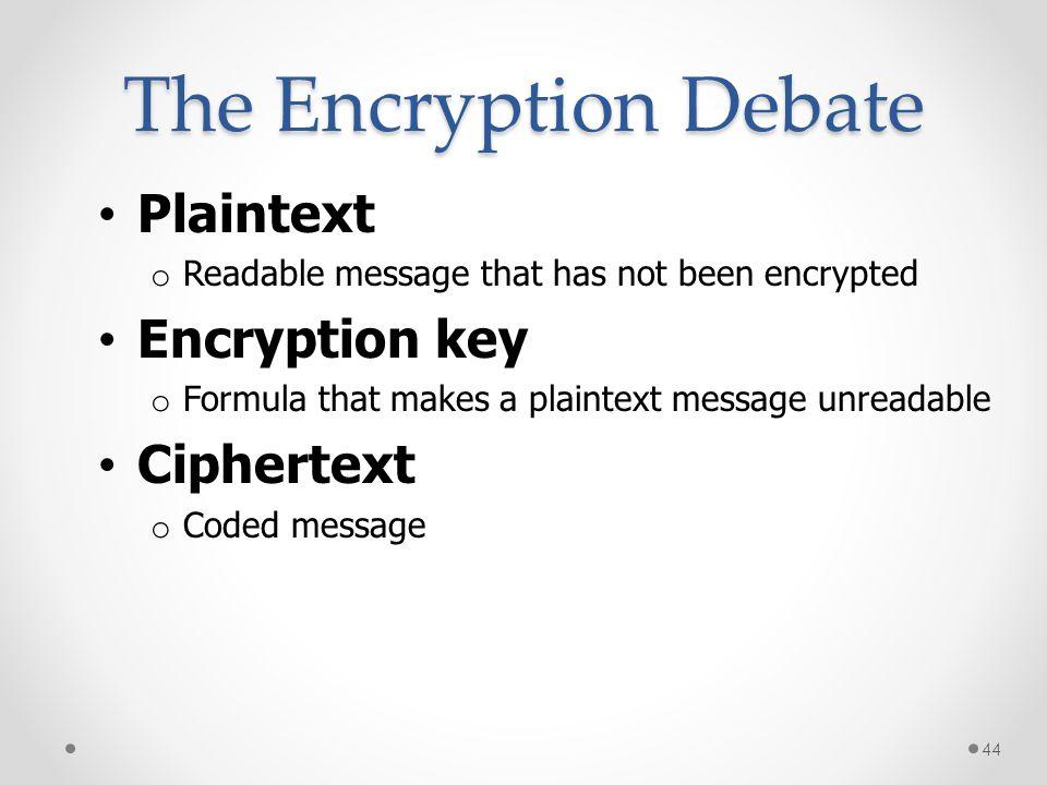 The Encryption Debate Plaintext Encryption key Ciphertext