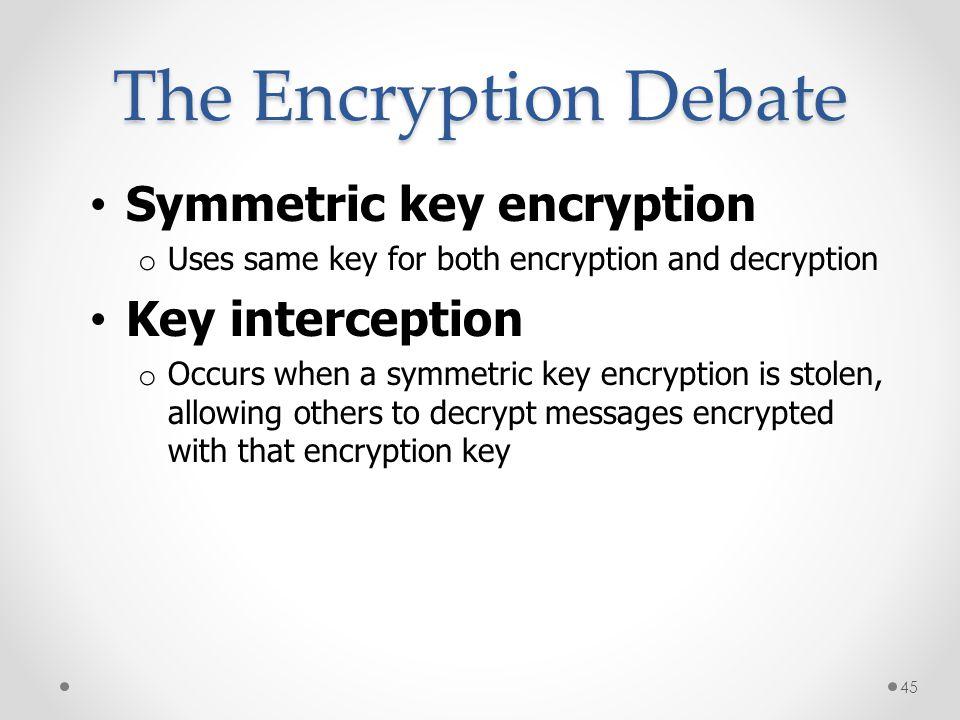 The Encryption Debate Symmetric key encryption Key interception