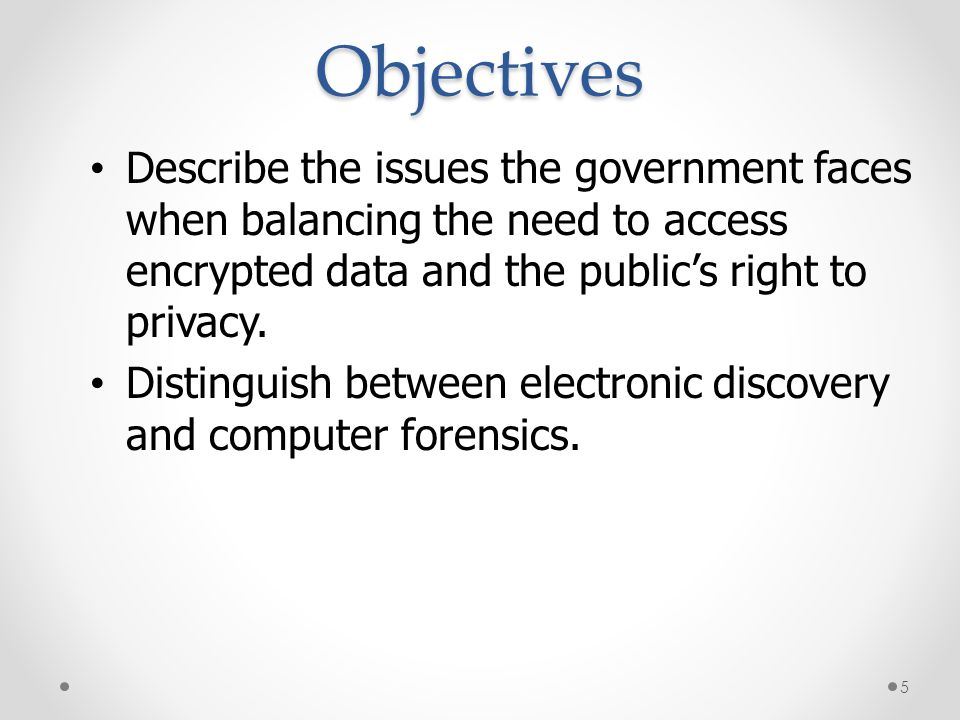 Objectives * 07/16/96. Describe the issues the government faces when balancing the need to access encrypted data and the public's right to privacy.