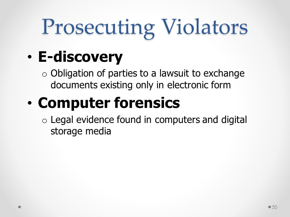 Prosecuting Violators