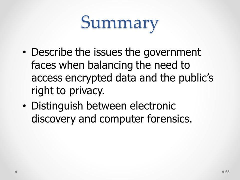 Summary * 07/16/96. Describe the issues the government faces when balancing the need to access encrypted data and the public's right to privacy.