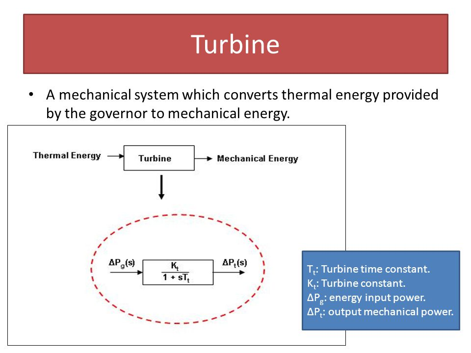 Turbine A mechanical system which converts thermal energy provided by the governor to mechanical energy.