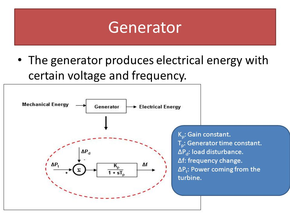 Generator The generator produces electrical energy with certain voltage and frequency. Kp: Gain constant.