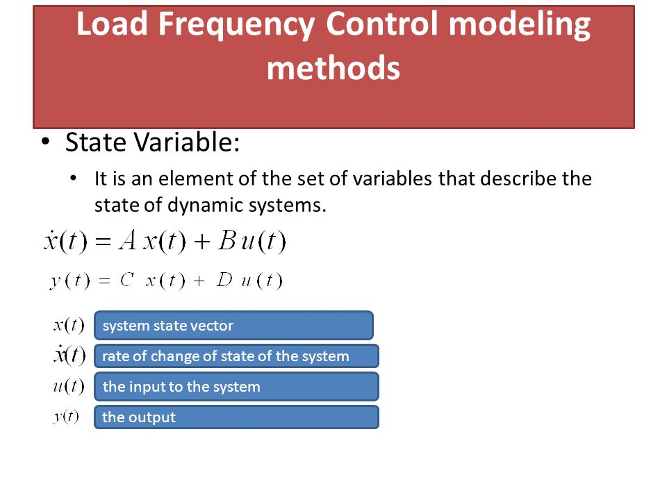 Load Frequency Control modeling methods