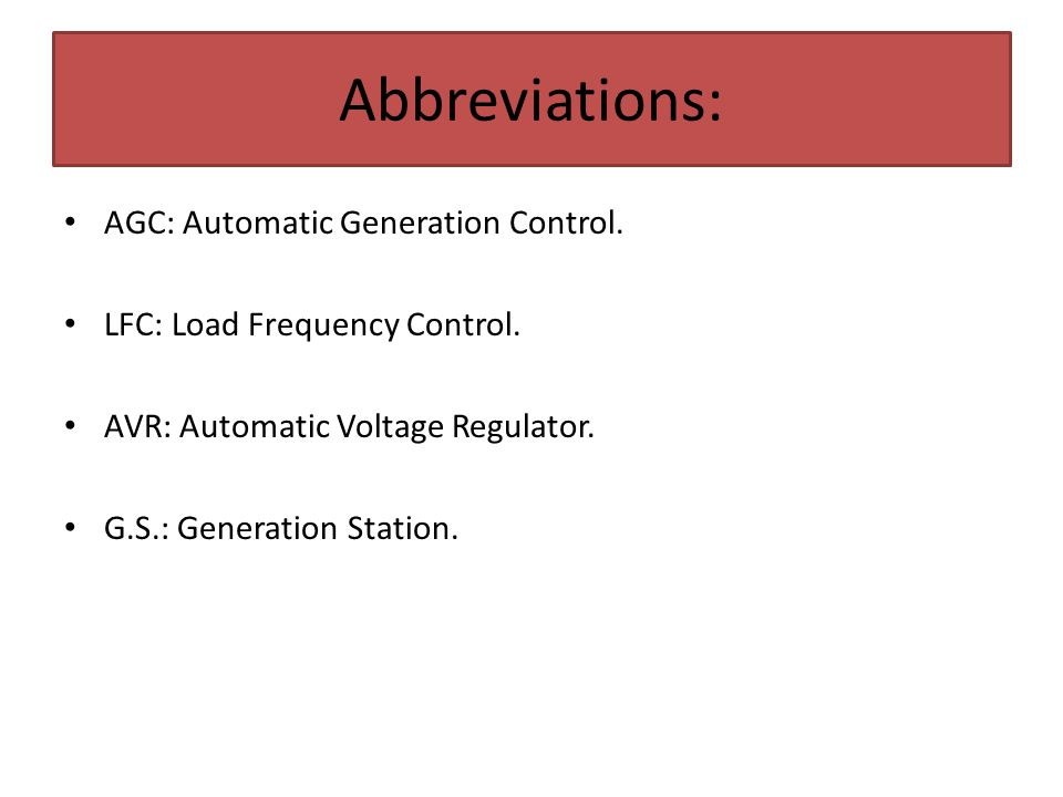Abbreviations: AGC: Automatic Generation Control.