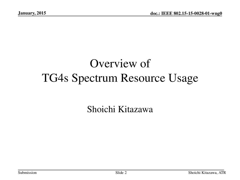 Overview of TG4s Spectrum Resource Usage