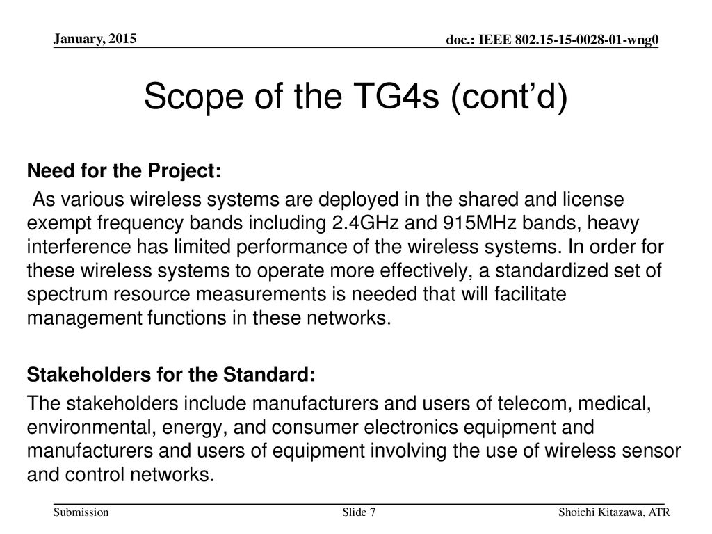 Scope of the TG4s (cont'd)