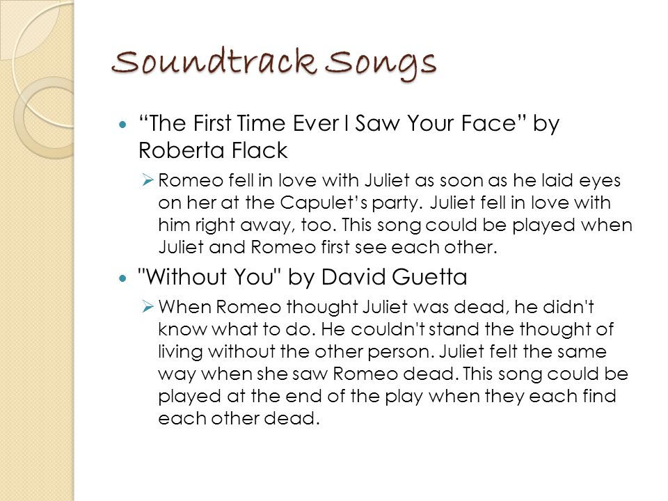 Soundtrack Songs The First Time Ever I Saw Your Face by Roberta Flack.