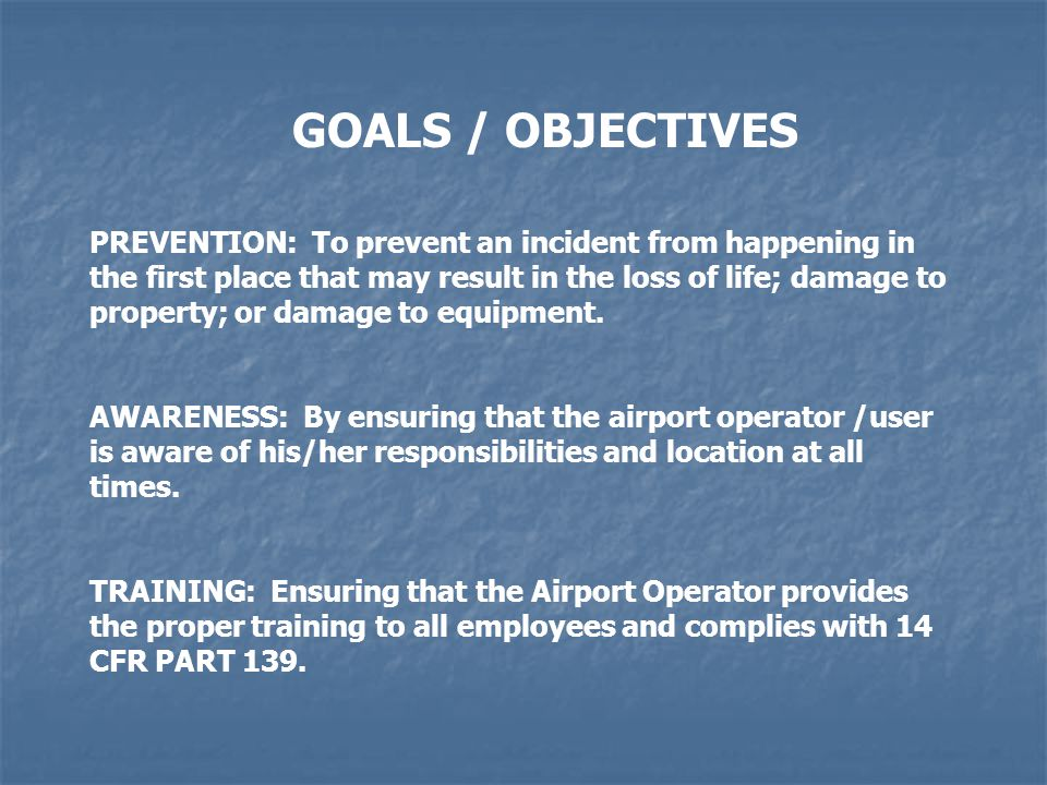 GOALS / OBJECTIVES