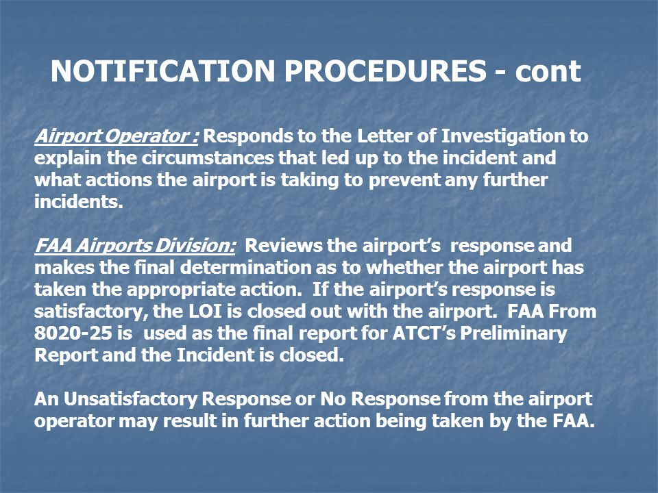 NOTIFICATION PROCEDURES - cont
