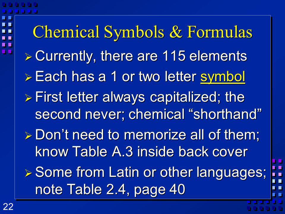 Chemical Symbols & Formulas