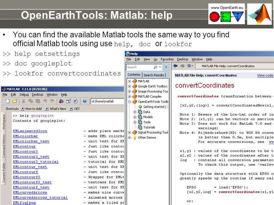 OpenEarthTools: Matlab: help
