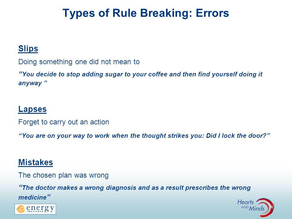 Types of Rule Breaking: Errors