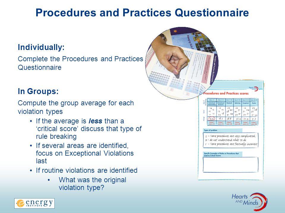 Procedures and Practices Questionnaire