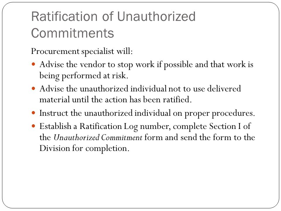Ratification of Unauthorized Commitments