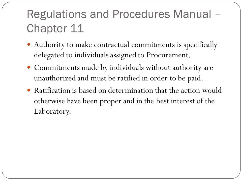 Regulations and Procedures Manual – Chapter 11