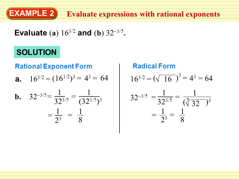Evaluate expressions with rational exponents