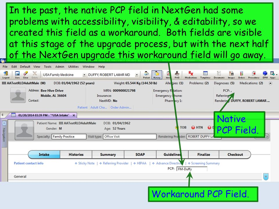 In the past, the native PCP field in NextGen had some problems with accessibility, visibility, & editability, so we created this field as a workaround. Both fields are visible at this stage of the upgrade process, but with the next half of the NextGen upgrade this workaround field will go away.