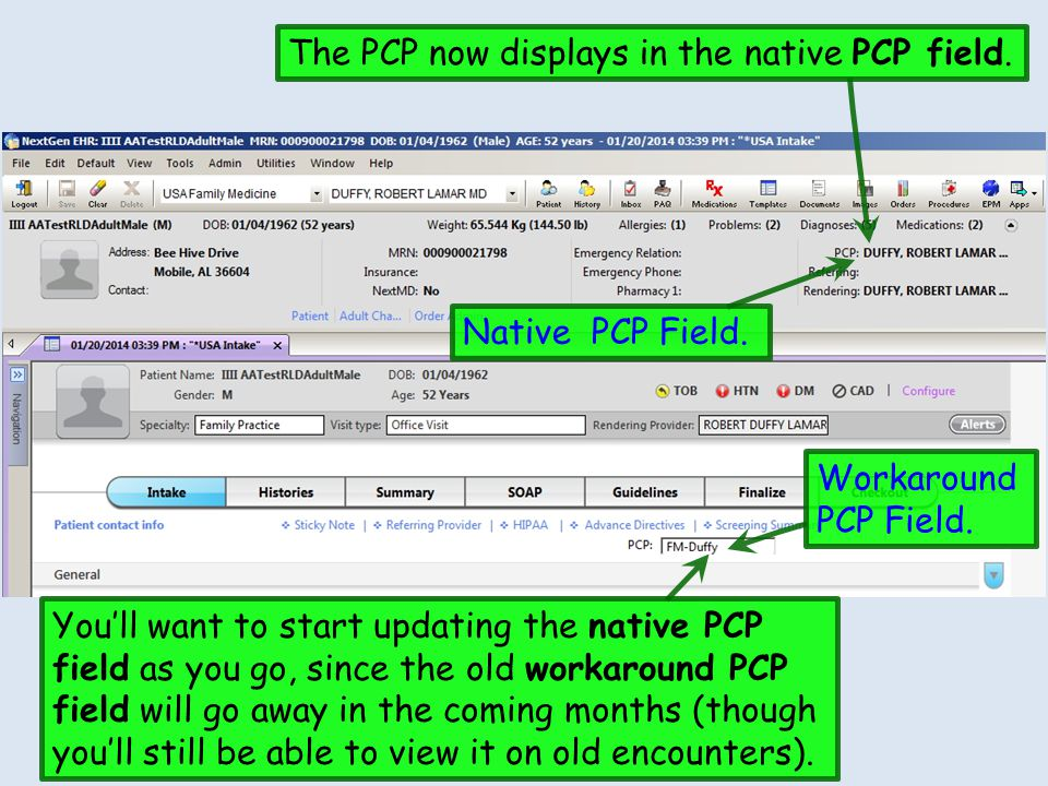 The PCP now displays in the native PCP field.