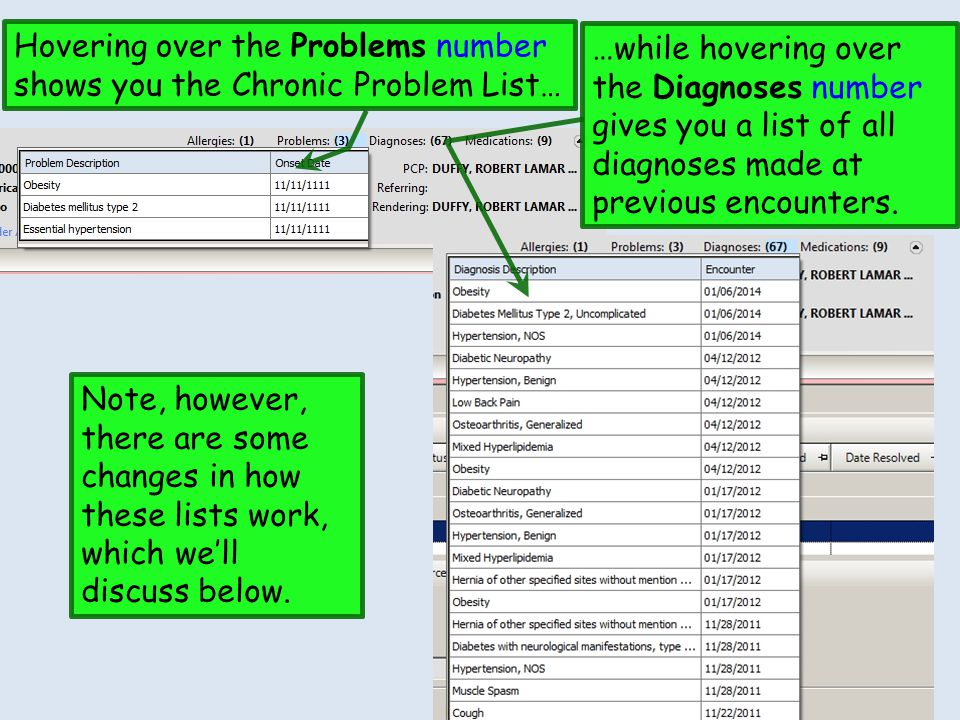Hovering over the Problems number shows you the Chronic Problem List…