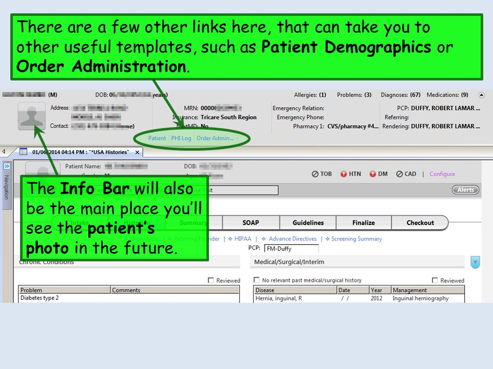 There are a few other links here, that can take you to other useful templates, such as Patient Demographics or Order Administration.