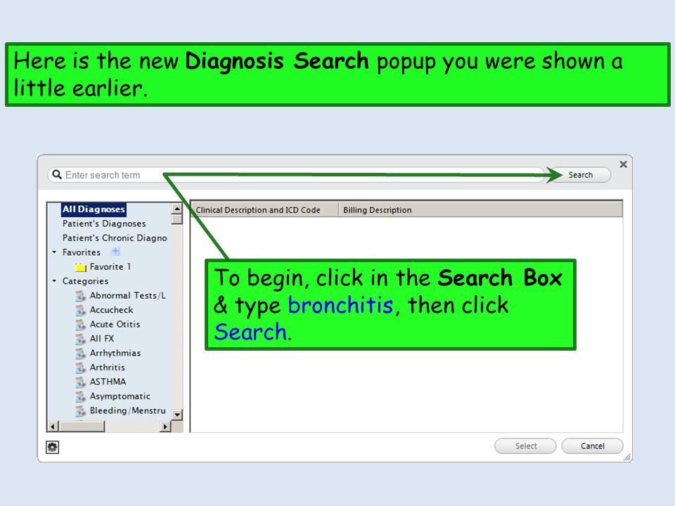 Here is the new Diagnosis Search popup you were shown a little earlier.
