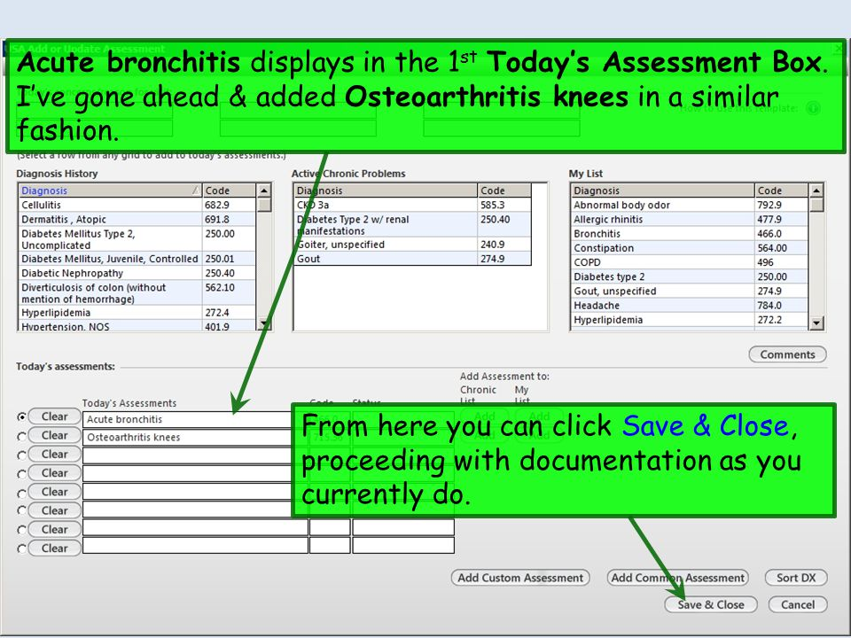 Acute bronchitis displays in the 1st Today's Assessment Box
