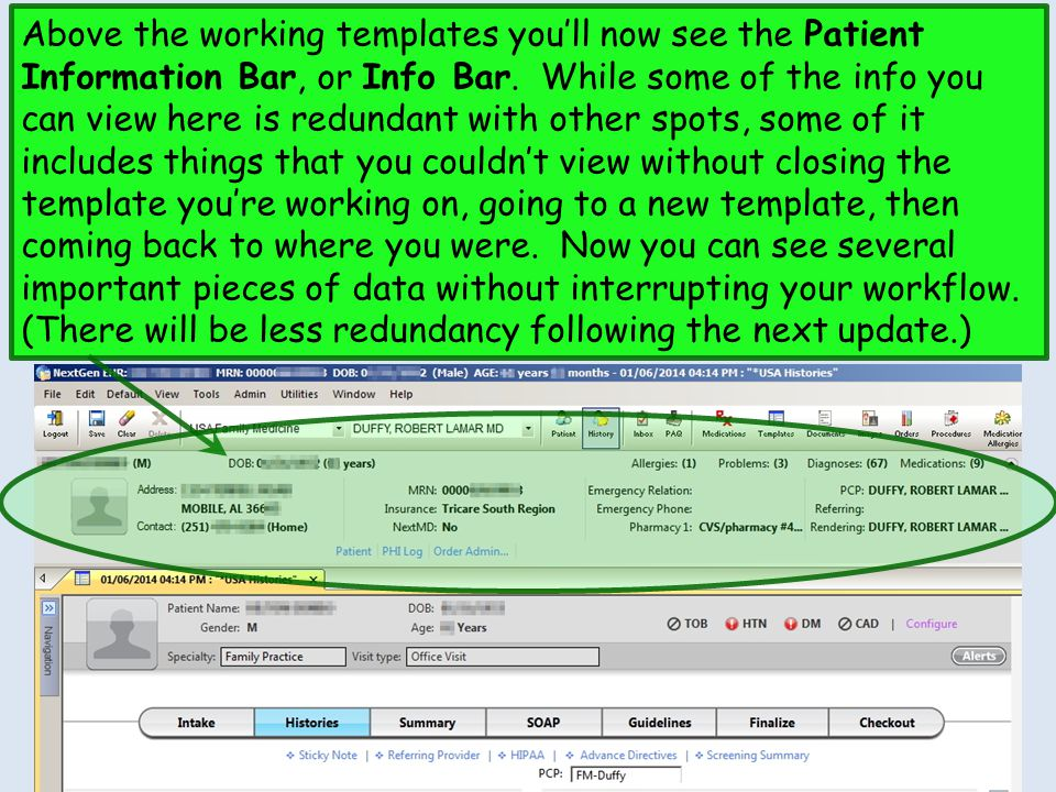Above the working templates you'll now see the Patient Information Bar, or Info Bar.