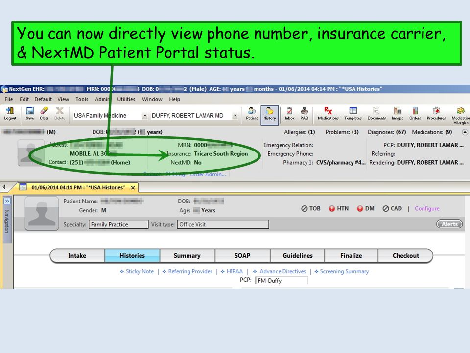 You can now directly view phone number, insurance carrier, & NextMD Patient Portal status.