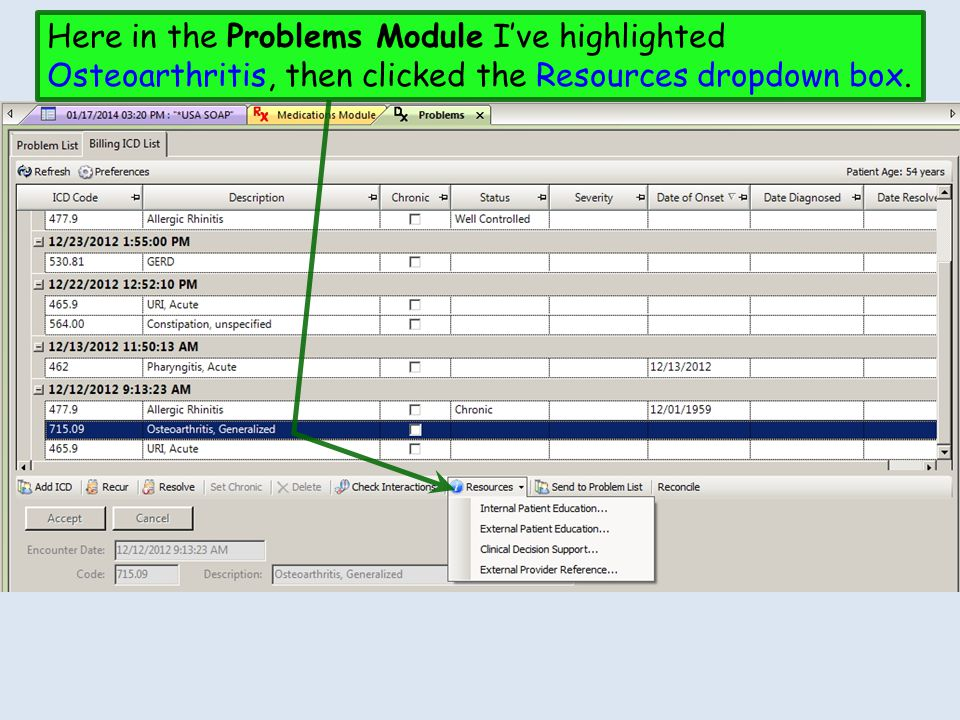 Here in the Problems Module I've highlighted Osteoarthritis, then clicked the Resources dropdown box.