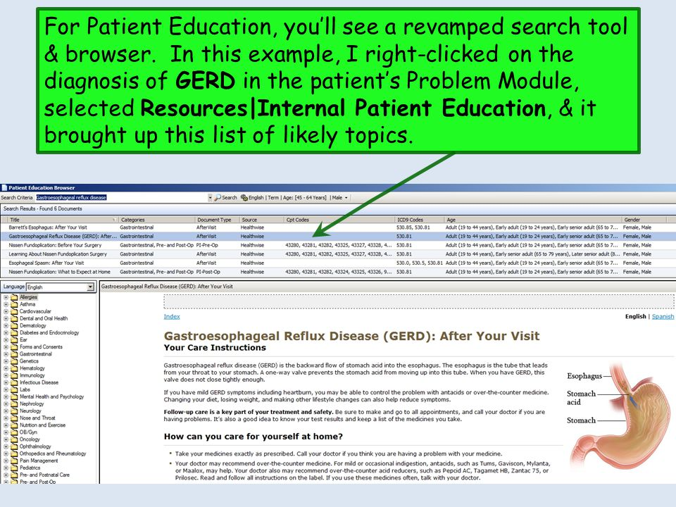 For Patient Education, you'll see a revamped search tool & browser