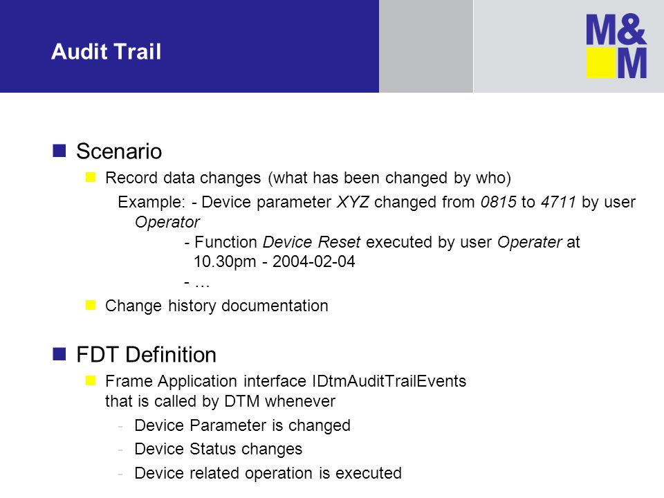 Audit Trail Scenario FDT Definition