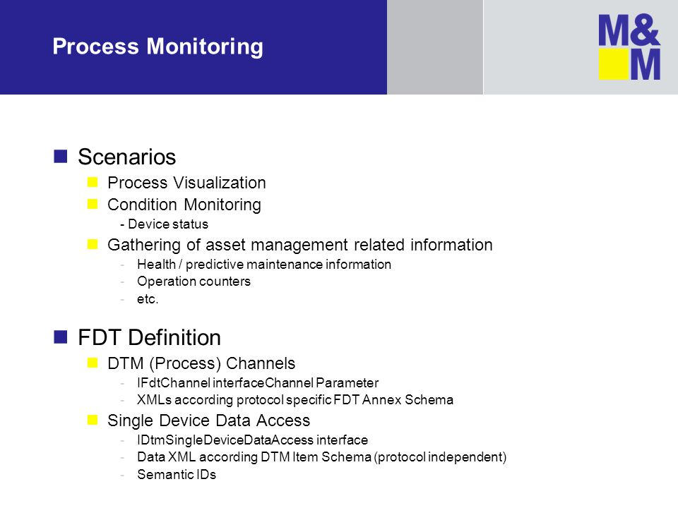 Process Monitoring Scenarios FDT Definition Process Visualization