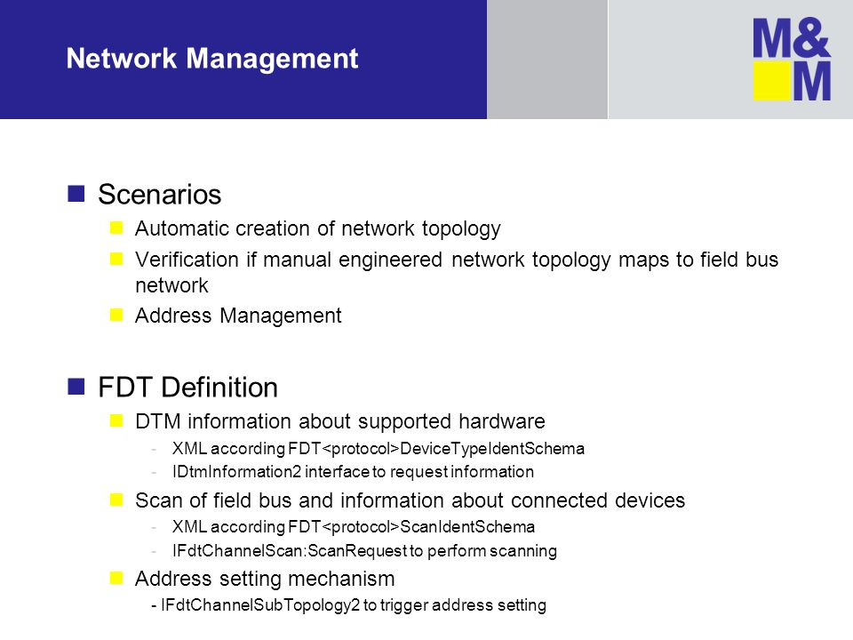 Network Management Scenarios FDT Definition