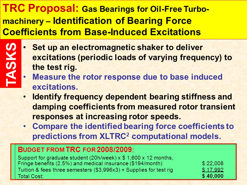 TRC Proposal: Gas Bearings for Oil-Free Turbo-machinery – Identification of Bearing Force Coefficients from Base-Induced Excitations
