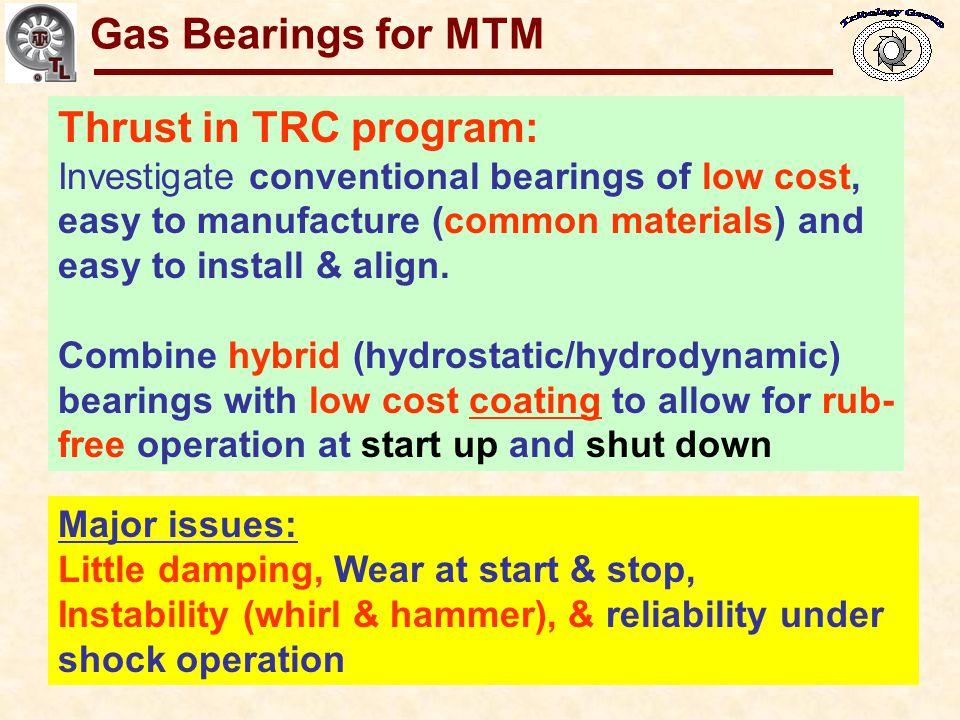 Gas Bearings for MTM Thrust in TRC program: