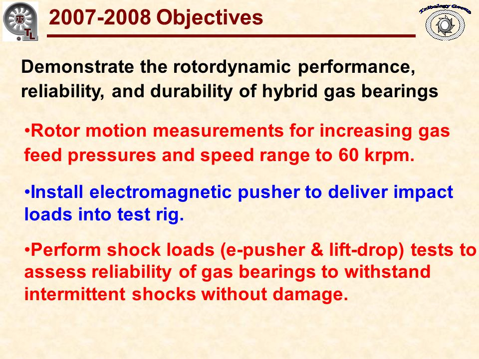 2007-2008 Objectives Demonstrate the rotordynamic performance, reliability, and durability of hybrid gas bearings.