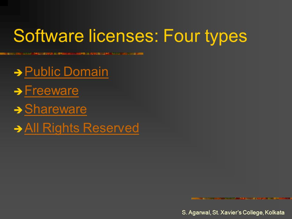 Software licenses: Four types