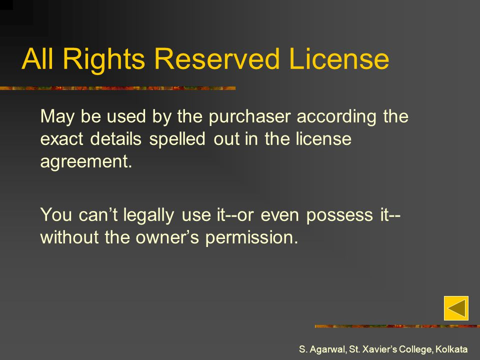 All Rights Reserved License